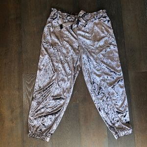 Jolt Crushed Velvet Silver Purple Cropped Joggers